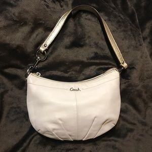 Small  White Leather Coach Purse